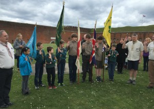 2nd Waterlooville Scout Group celebrated St Georges Day by renewing their promises at Fort Nelson on the afternoon of 24th April. During the short ceremony 4 Explorer Scouts were also invested, several of whom started their scouting in the groups beaver colony. Afterwards members of the group and families spent the afternoon exploring the museum, including activities to celebrate the Queens 90th birthday and live firing of a gun.